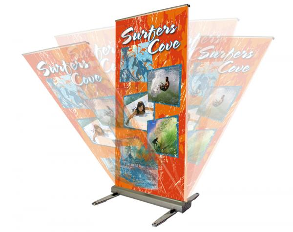 MediaScreen AWD retractable outdoor banner stand - Spring loaded graphic mast